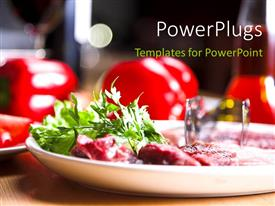 PowerPoint template displaying fresh and healthy food in plate over restaurant table