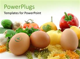 PowerPoint template displaying fresh and healthy food and vegetables over green background