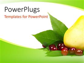 PowerPlugs: PowerPoint template with fresh and healthy fruits on green and white background