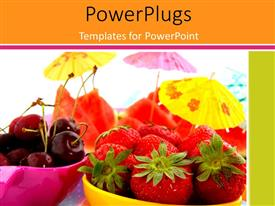 PowerPlugs: PowerPoint template with fresh healthy fruits in pink and yellow bowl with parasols