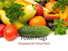 PowerPoint template displaying fresh and healthy fruits and vegetables