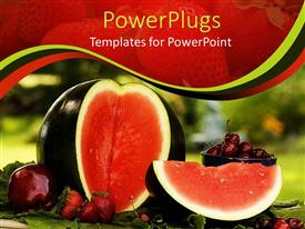 PowerPlugs: PowerPoint template with fresh sliced water melon next to red apple, cherries and strawberries