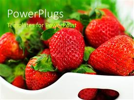 PowerPlugs: PowerPoint template with fresh strawberries in white ceramic bowl on white background