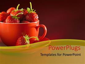 PowerPlugs: PowerPoint template with cup and saucer filled with fresh strawberry over red background