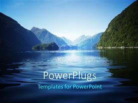 PowerPoint template displaying fresh view over Doubtful Sound a fiord in New Zealand