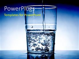 PowerPlugs: PowerPoint template with fresh Water being poured in a glass with blue color