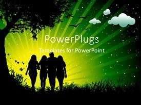 PowerPlugs: PowerPoint template with friends having fun with nature