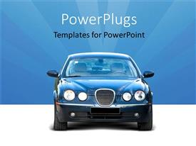 PowerPoint template displaying front end of car on white showroom floor and blue background