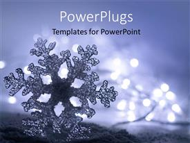 PowerPlugs: PowerPoint template with frozen ice snowflake with soft christmas lights