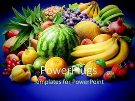 PowerPlugs: PowerPoint template with a lot of fruits with a bluish background
