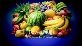 PowerPoint template displaying a lot of fruits with a bluish background