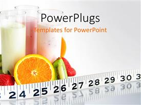 PowerPlugs: PowerPoint template with fruit smoothies circled by fruit health ruler