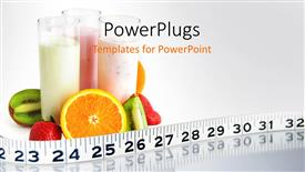 PowerPoint template displaying fruit smoothies circled by fruit health ruler