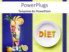 PowerPlugs: PowerPoint template with fruits form word DIET on white dish with cup filled with sliced fruits