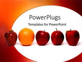 PowerPoint template displaying fruits oranges apples red standing out unique rare metaphor
