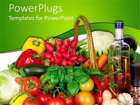 PowerPlugs: PowerPoint template with fruits vegetables, tomatoes in cane basket with bottle of fruit extract