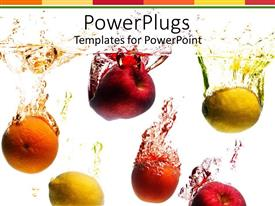 PowerPoint template displaying fruits in water splashing, orange, lemon, red apple, peach