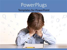 PowerPlugs: PowerPoint template with frustrated child sitting at table with pencil and notebook