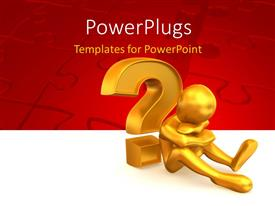 PowerPlugs: PowerPoint template with frustrated gold plated man sits by question mark symbol