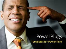 PowerPlugs: PowerPoint template with frustrated man with eyes closed touches head with index finger