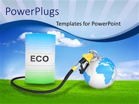 PowerPoint template displaying fueling Earth from ECO pump nozzle over green grass and sky in background