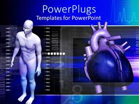 PowerPoint template displaying full human figure with a beating blue heart beside