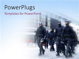 PowerPlugs: PowerPoint template with full kitted riot police moving on street to control riot