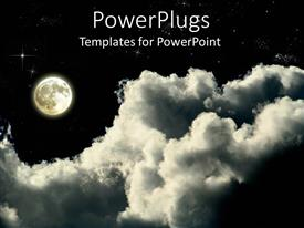 PowerPlugs: PowerPoint template with full moon on a cloudy star lit night