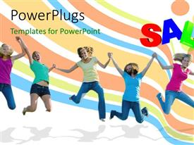PowerPlugs: PowerPoint template with a number of people enjoying with colorful background