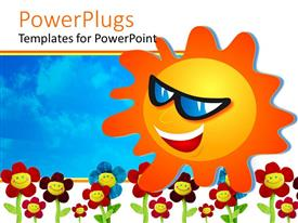 PowerPoint template displaying fun depiction of happy smiling sun with face and sunglasses and colorful happy flowers on bright blue sky background