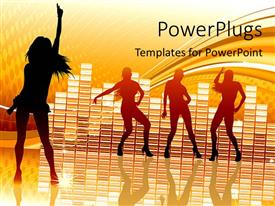 PowerPoint template displaying funky background with equalizer bars and silhouette of people dancing