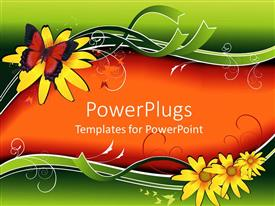 PowerPoint template displaying funky Colored theme with a butterfly sitting on yellow flower