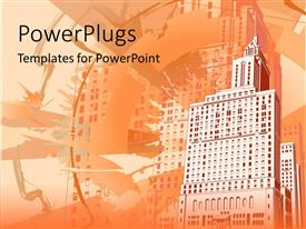 PowerPlugs: PowerPoint template with funky grungy urban building background with shades of orange