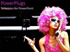 PowerPoint template displaying funky young woman with gun and pink wig holding cigarette, model, fashion