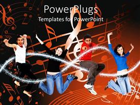 PowerPlugs: PowerPoint template with fur tenage people laughing and jumping in the air