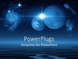 PowerPoint template displaying future planets in galaxies and space above the blue ocean on a dark night