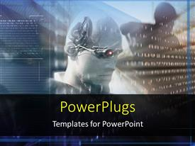 PowerPoint template displaying future science technology, virtual reality , an android read the coded information on the hologram screen, robots