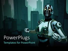 PowerPoint template displaying futuristic cyborg, with tech city