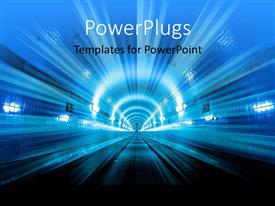 PowerPoint template displaying futuristic depiction of city tunne with lights in blue theme
