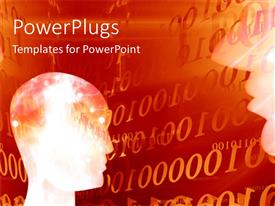 PowerPlugs: PowerPoint template with futuristic depiction of human head and close-up of human head over orange background with binary codes