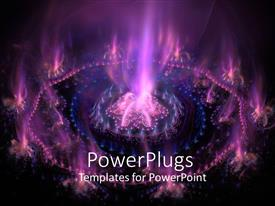 PowerPoint template displaying futuristic purple with purple and blue flames in dark background