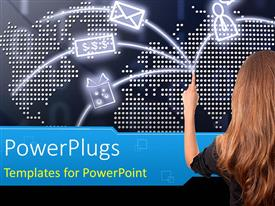 PowerPlugs: PowerPoint template with internet depiction with social network symbols on world map in background