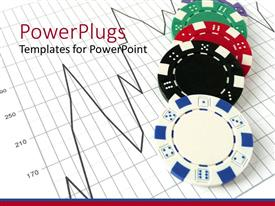 PowerPlugs: PowerPoint template with gambling chips over stock market chart on white background