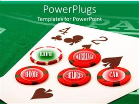 PowerPoint template displaying gambling chips with playing cards on casino table