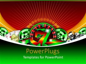PowerPlugs: PowerPoint template with gambling icons, casino chips, lucky number seven, three aces, dice