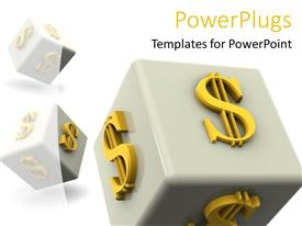PowerPlugs: PowerPoint template with gambling money dollar bill signs taking a chance metaphor casino dice