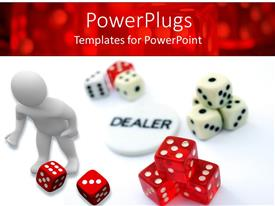 PowerPoint template displaying gambling theme with white 3D figure, white and red dice and dealer button