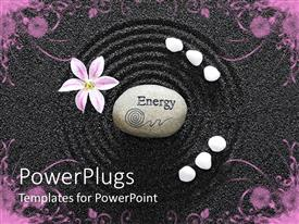 PowerPlugs: PowerPoint template with a garden with an energy stone in the middle of a circle create don black sand