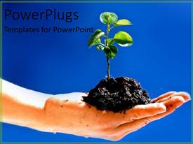 PowerPlugs: PowerPoint template with gardening and growing pants soil in hand growing a garden green thumb