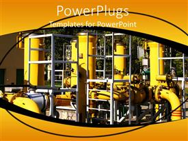 PowerPlugs: PowerPoint template with gas pipelines, yellow pipes, close up of industrial factory plant